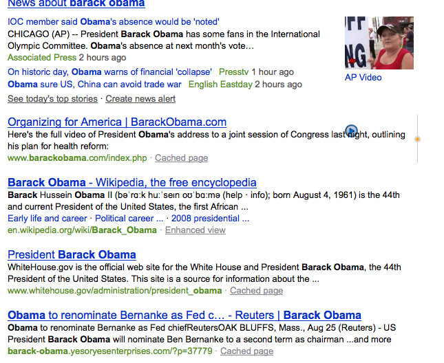 Bing's organic search results for Barack Obama, including a spam site